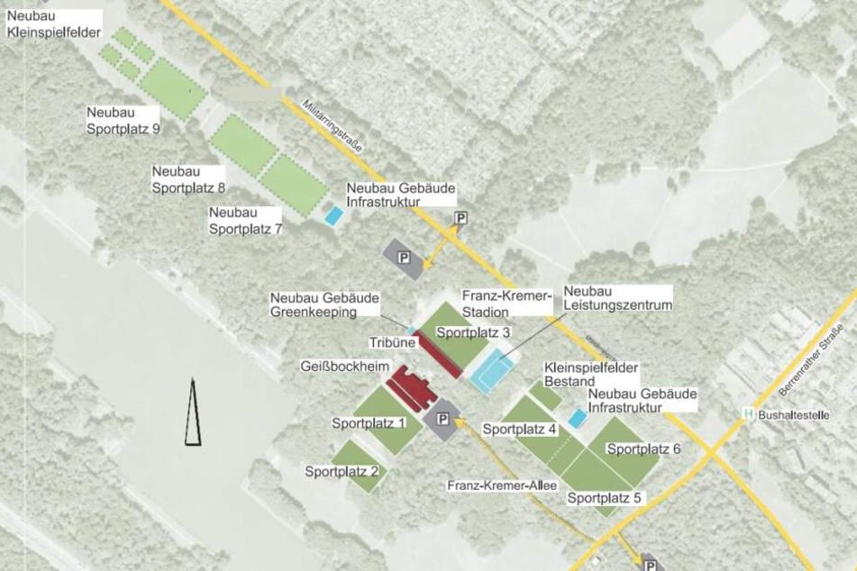 Die Ausbaupläne am Geißbockheim im Plan. Die neuen Trainingsplätze würden mitten im Grüngürtel entstehen.