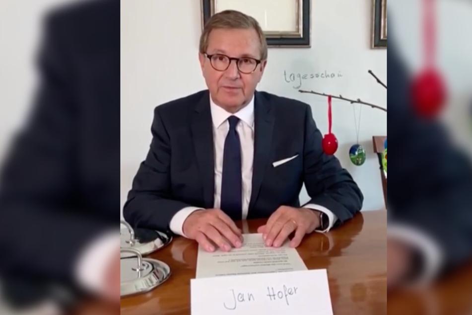 Jan Hofer meldet sich normalerweise aus dem Tagesschau-Studio in Hamburg.