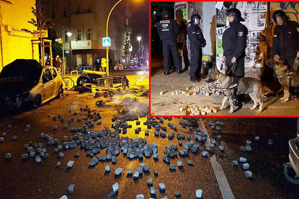 Schwere Randale in Berlin: Flaschen und Böller fliegen