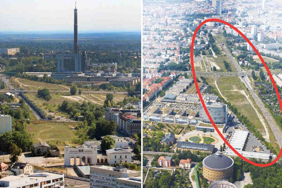 Auf der Fläche hinter dem Bayerischen Bahnhof wird das neue Viertel mit Platz für 1600 Wohnungen entstehen.