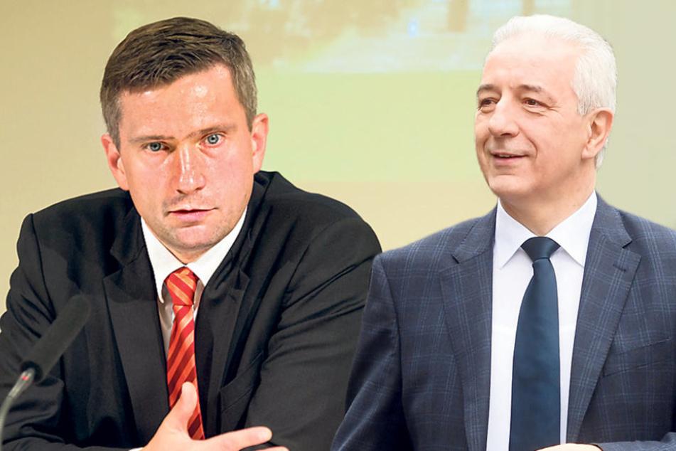 Die Sachsen-CDU mit ihrem Chef, Ministerpräsident Stanislaw Tillich (58, r.) ist  laut Umfrage mit Abstand stärkste Kraft. Sachsens SPD-Chef Martin Dulig (43): Seine Partei kommt nur auf elf Prozent  Zustimmung.