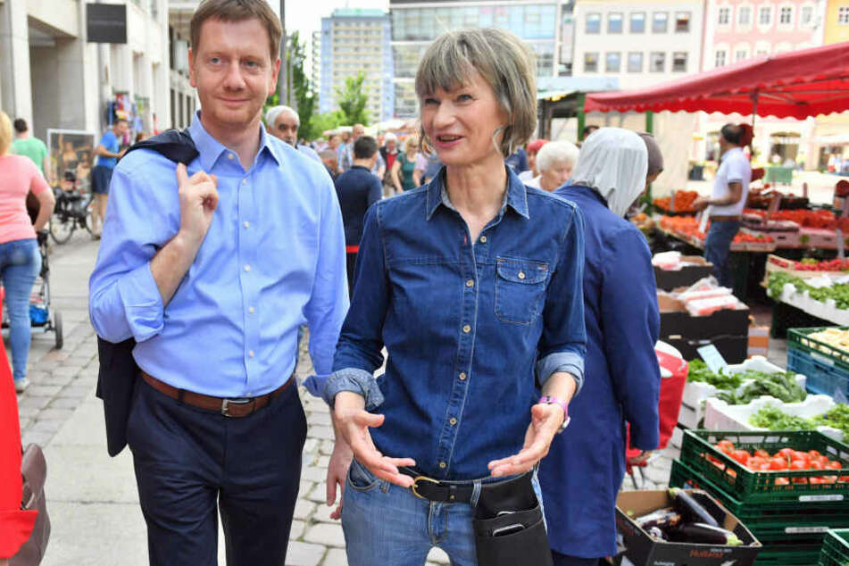 Michael Kretschmer (CDU) zu besuch in Chemnitz. Barbara Ludwig (SPD) führte den Ministerpräsidenten durch die Innenstadt (2019).
