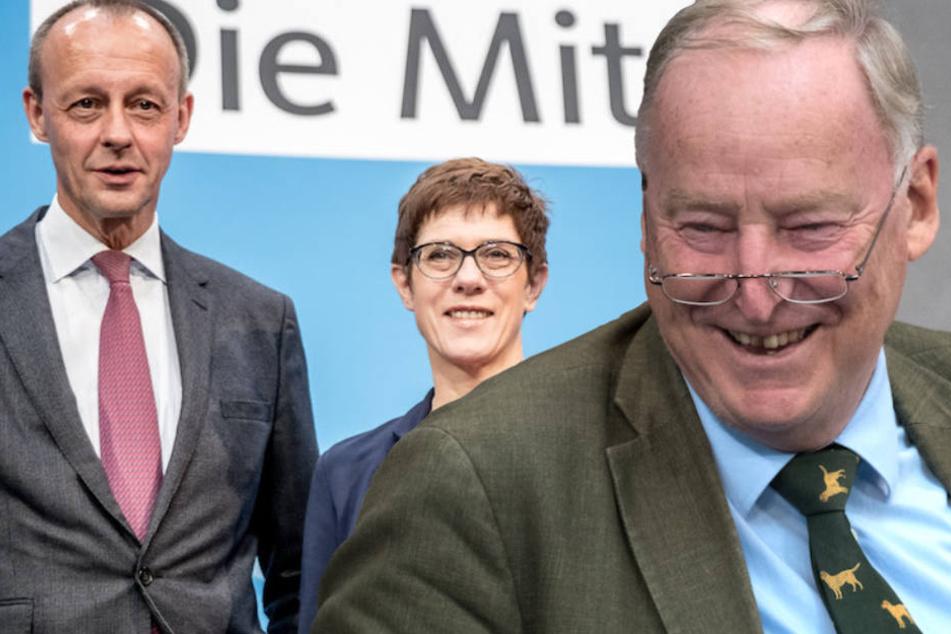 Alexander Gauland (77) glaubt nicht, dass die CDU seiner AfD künftig Wähler streitig machen kann - egal ob unter Merz oder Kramp-Karrenbauer. (Bildmontage)