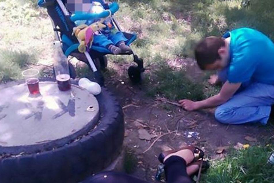 Unfassbare Szenen in einem ukrainischen Park. Die Polizei fand die junge Familie so vor.