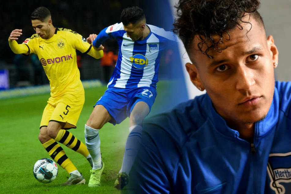 Davie Selke im Zweikampf mit Dortmunds Aschraf Hakimi.