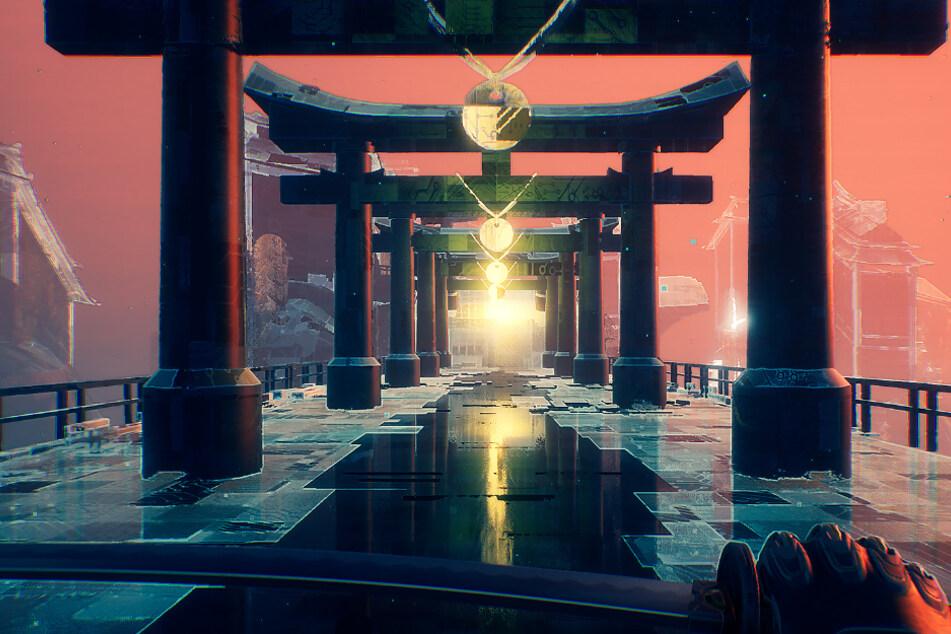 """Zwischen den Kämpfen verschlägt es Euch immer wieder in eine japanisch anmutende virtuelle Realität. """"Ghostrunner"""" wird aus der Ego-Perspektive gesteuert, wie Ihr hier sehen könnt. Dabei setzt das Spiel auf High-End-Grafik, die wirklich Eindruck macht!"""