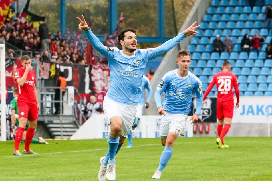 Tor für den CFC: Philipp Hosiner (26) jubelt nach seinem Treffer zum 1:0.