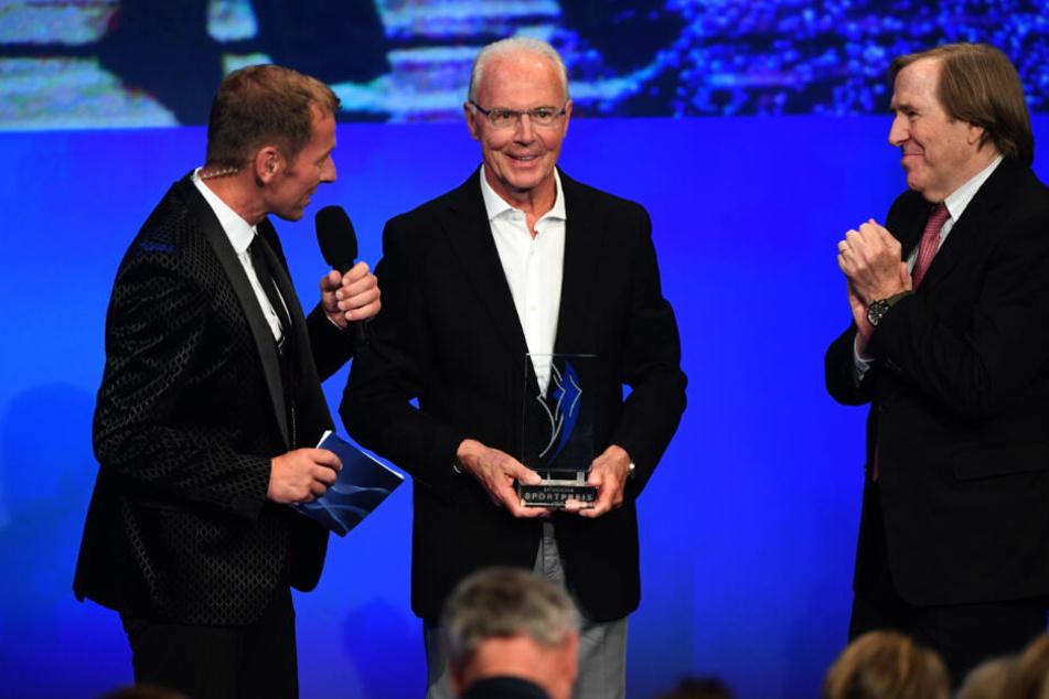 Franz Beckenbauer und Günther Netzer bei der Verleihung des Bayerischen Sportpreises 2018 in München.