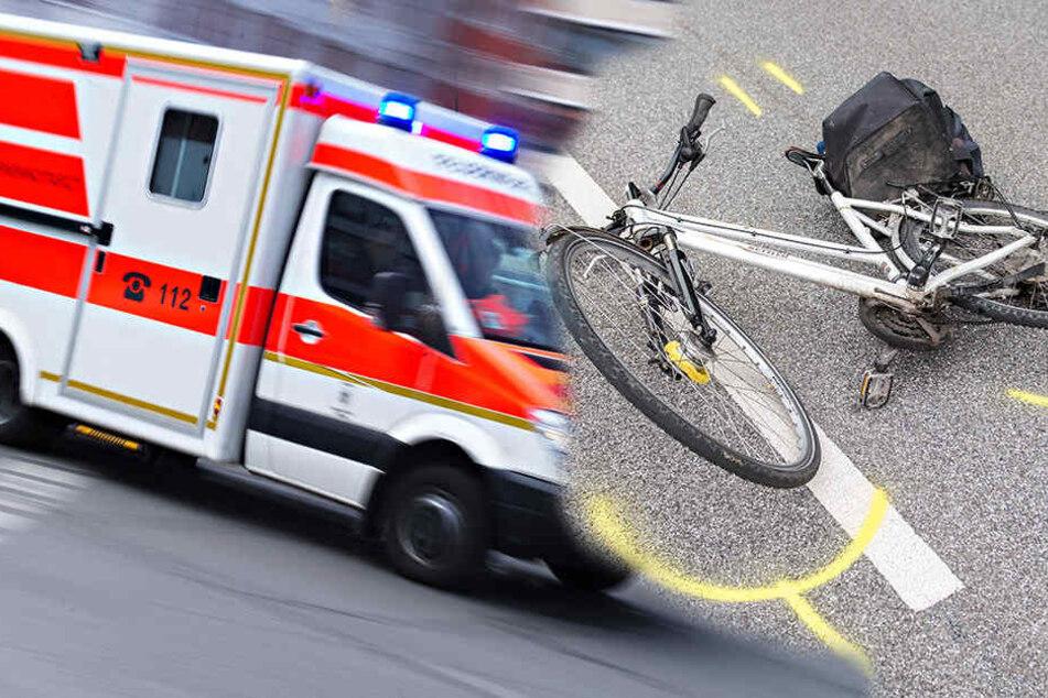 Eine Radfahrerin ist von einem abbiegenden LKW erfasst worden. (Symbolbild)