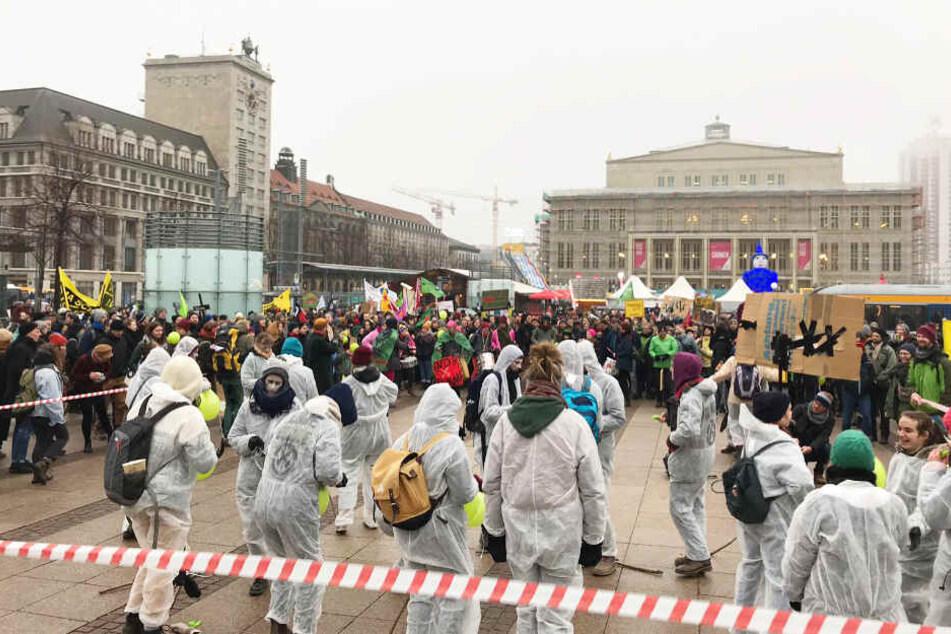 Tausende demonstrierten am Samstagnachmittag in Leipzig.
