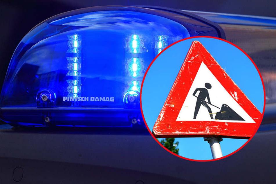 """Die Polizei ermittelt nun gegen die """"Spaßvögel"""", die die Baustellenbeschilderung in Lüdge entfernten."""