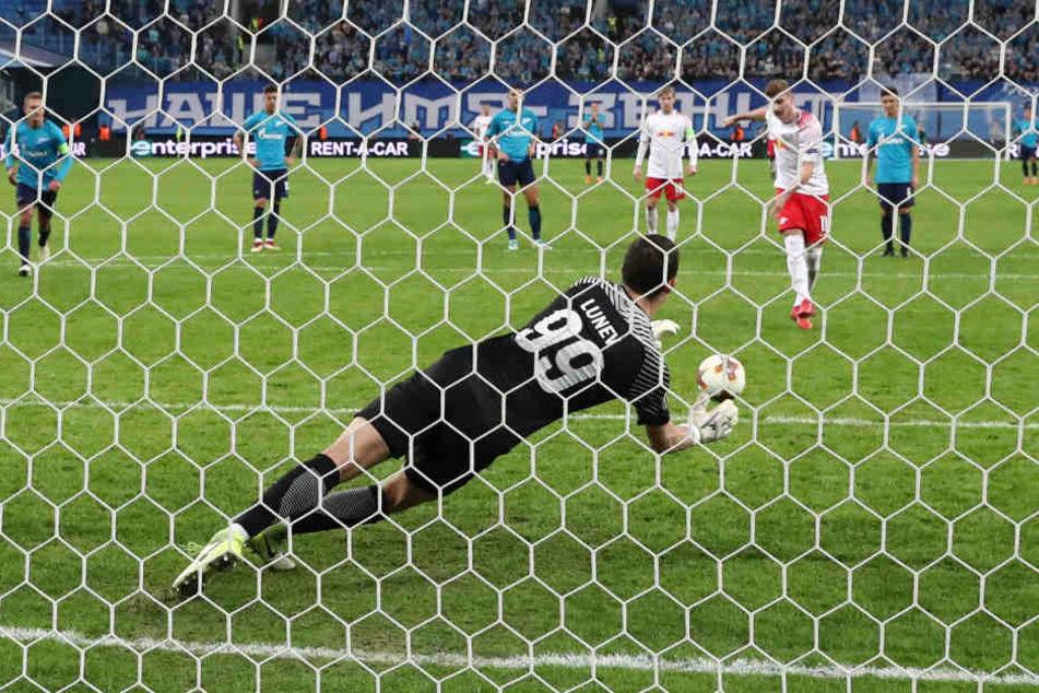 Timo Werner scheiterte in der 82. Minute per Foulelfmeter an Zenit-Torhüter Andrej Lunev.