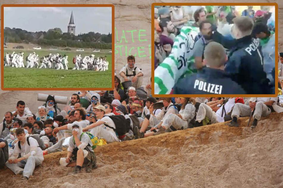 Braunkohle-Aktivisten treten Acker kaputt, Polizist ohrfeigt Besetzer