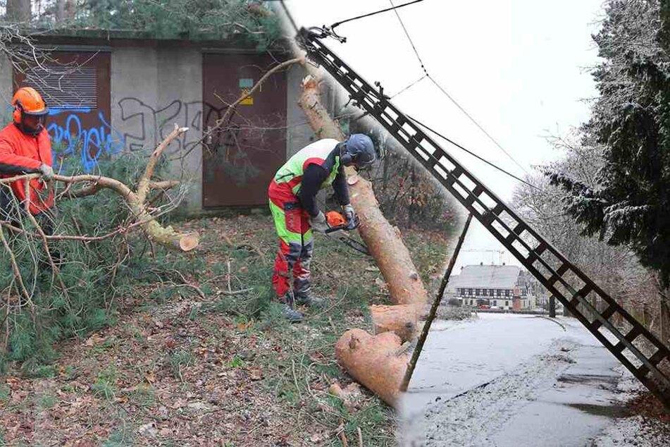 Auch Stunden nach dem Sturm: Tausende Sachsen ohne Strom