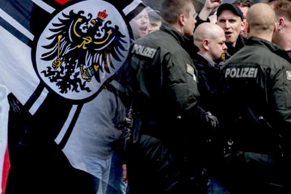 Rechtsextreme bei einer Demo in Erfurt.