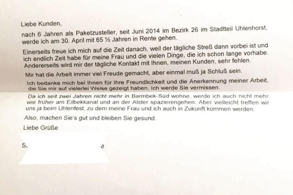 Von diesem Brief kursiert ein Foto auf Twitter.