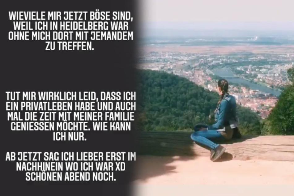 """""""Tut mir wirklich leid, dass ich ein Privatleben habe"""", schrieb Nora (28) nach ihrem Heidelberg-Trip (rechts). (Montage/Screenshots)"""