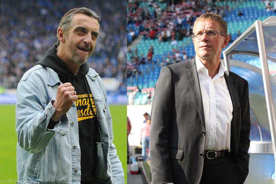 Die beiden Sportdirektoren: Ralf Minge (l.) von Dynamo und Ralf Rangnick (r.) von RB Leipzig.