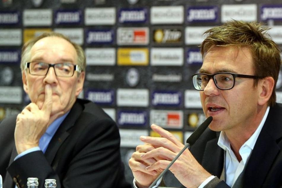 Arminias Präsident Hans-Jürgen Laufer und Geschäftsführer Markus Rejek standen den Fragen der Mitglieder zur Verfügung.