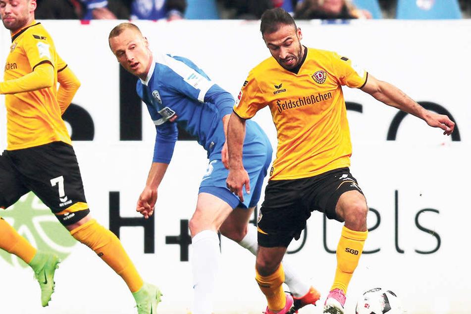 Akaki Gogia (r., gegen Felix Bastians) leistete sich vorm ersten Bochumer Treffer einen bösen Schnitzer.