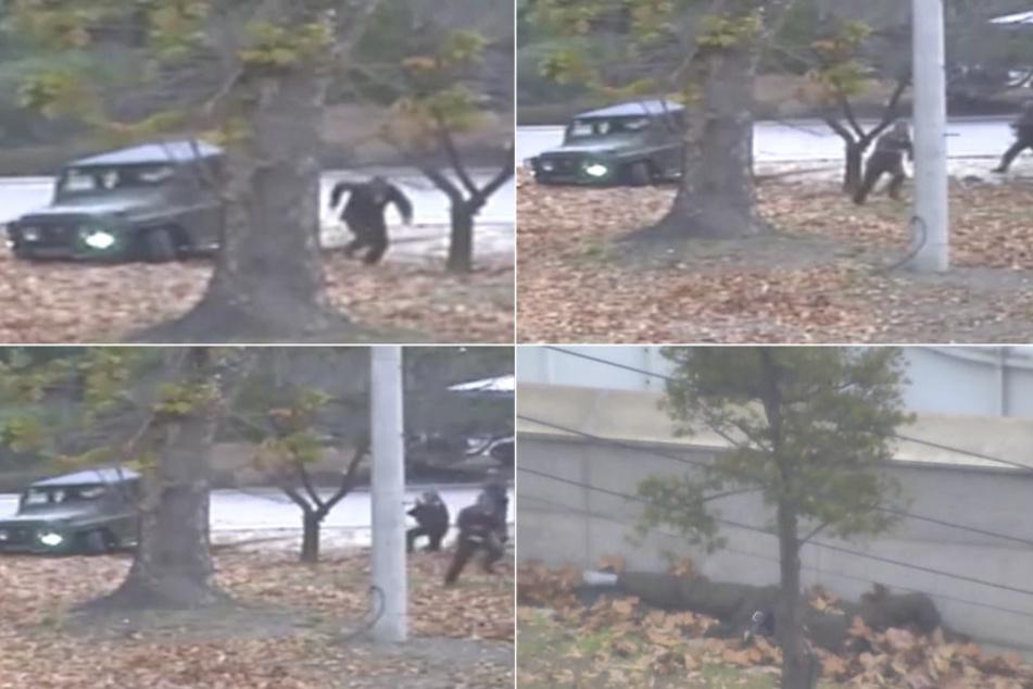 Die Bilder einer Überwachungskamera zeigen den Fluchtversuch eines Nordkoreanischen Soldaten an der Grenze zu Südkorea .