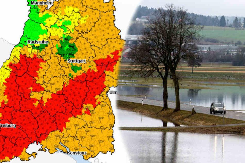 Im Schwarzwald und auf der Schwäbischen Alb könnte es zu Hochwassern kommen, wie es sie alle 20 Jahre gibt. (Fotomontage/Symbolbild)