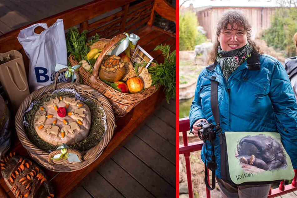 li.: Zoo-Besucher brachten dem Elefanten Leckereien mit. re.: Die Tasche hat Angelika Horn (50) selbst gemacht. Sie kommt regelmäßig in den Zoo, besuchte Voi Nam auch in Heidelberg.