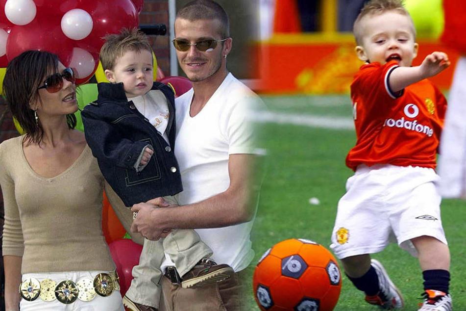 Brooklyn Beckham im zarten Alter von zwei Jahren mit seinen Eltern (li.) und später beim Fußballspielen.