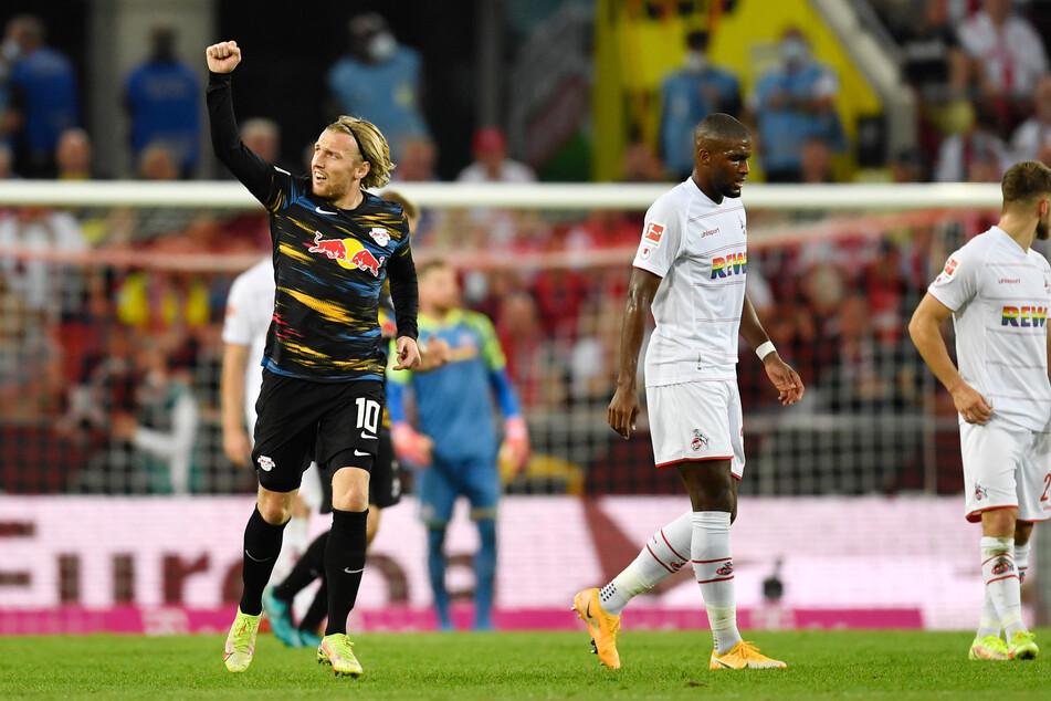 """Emil Forsberg (29, l.), hier während der Partie beim 1. FC Köln am vergangenen Wochenende, ist sich sicher, dass man am Samstag ein """"geiles Spiel"""" abliefern werde."""
