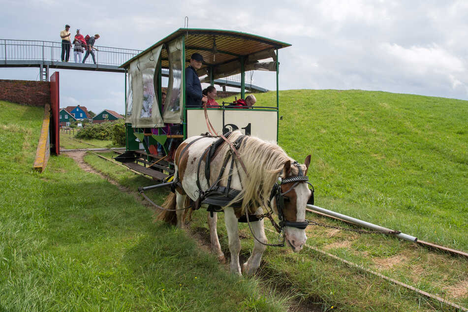 Die Pferdebahn auf der Nordseeinsel Spiekeroog passiert das Deichtor vor dem Inselbahnhof.
