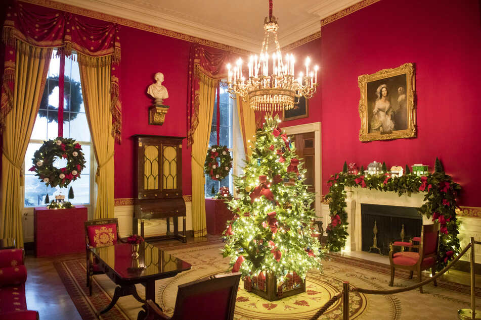 The Red Room features decorations honoring frontline workers during the coronavirus pandemic.