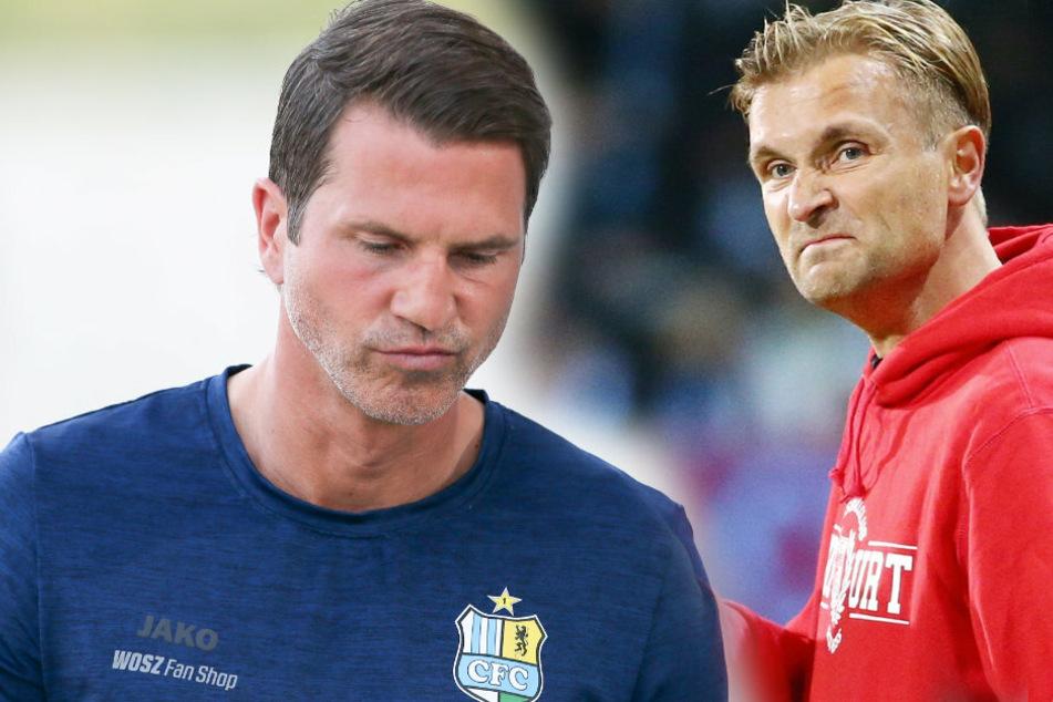 CFC-Coach Patrick Glöckner (F.l.) ist mit seiner Mannschaft in die Regionalliga abgestiegen. Sein Vorgänger David Bergner (F.r.) ist nicht ganz unschuldig an der Situation.