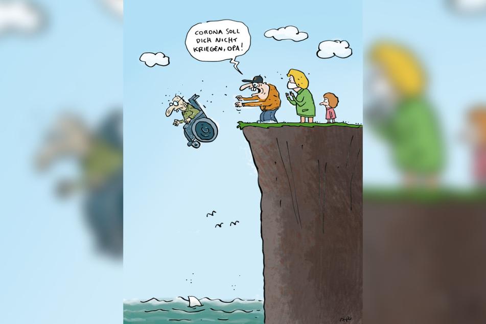 Schon ganz witzig, aber nur auf Platz 3: Die Karikatur von Ari Plikat greift das Corona-Thema auf.