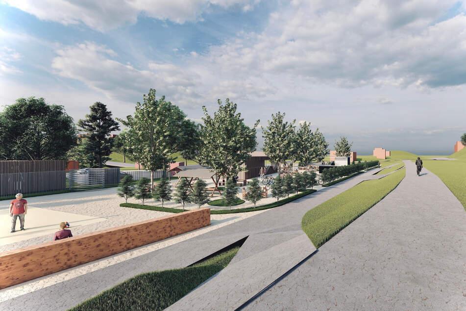 So soll der geplante Biergarten am Chemnitztalradweg aussehen.