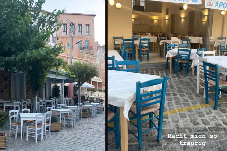 Gerda Lewis (27) zeigt bei Instagram, wie leer griechische Restaurants wegen Corona sind. (Fotomontage)