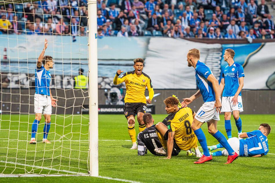 Heinz Mörschel (24, Rückennummer 8) bugsierte den Ball in Rostock bereits nach 35 Sekunden ins Tor.