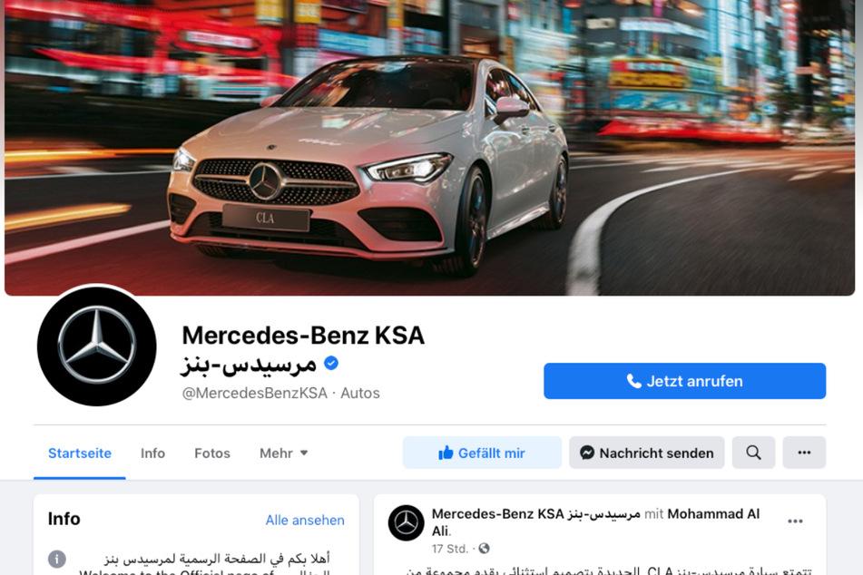 Glänzt durch Abwesenheit des Regenbogens: Der Facebook-Auftritt der Mercedes-Seite für Saudi-Arabien.