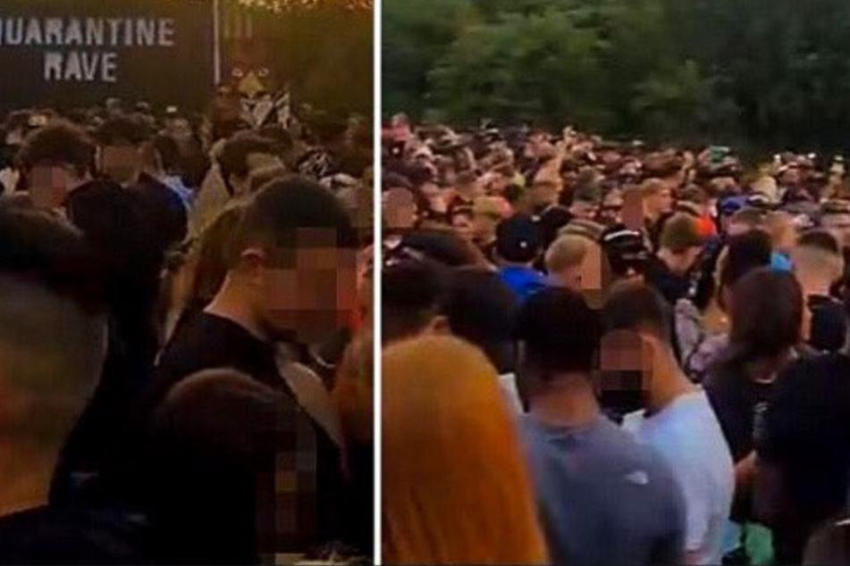 Bis zu 4000 Menschen hatten sich am Samstag zu dem Rave versammelt.