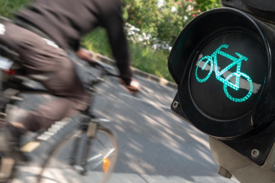 Ein Radfahrer fährt auf der Theodor-Heuss-Straße in Stuttgart an einer grünen Fahrradampel vorbei.