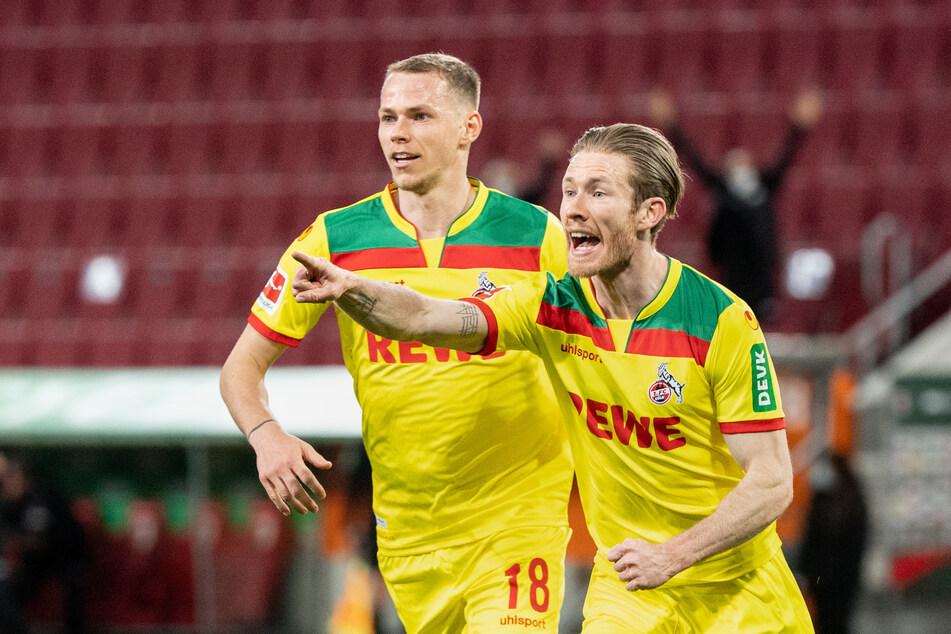 Florian Kainz (r.) erhöhte nach Vorlage von Sebastian Andersson zum 2:0 für den 1. FC Köln gegen den FC Augsburg.