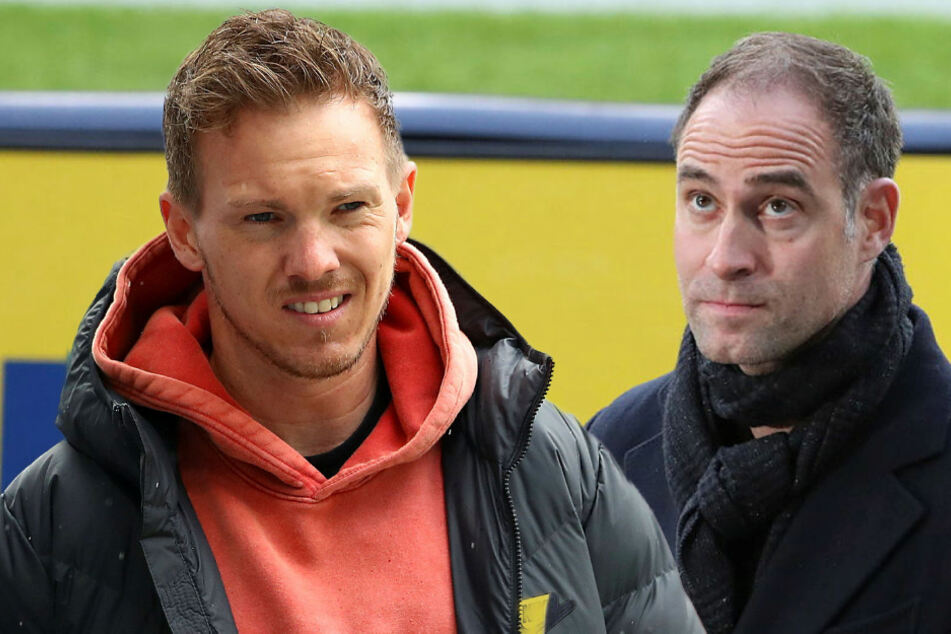 Cheftrainer Julian Nagelsmann (33, l.) würde es offenbar nicht sonderlich leicht gemacht werden, RB Leipzig (im Sommer) zu verlassen. Vorstandsboss Oliver Mintzlaff (45) betonte die Wichtigkeit von Vertragstreue.
