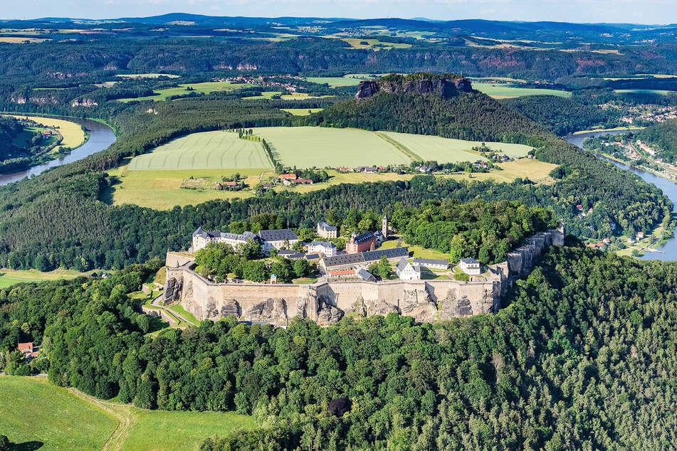 Blick auf die Festung Königstein, die größte Bergfestung Europas.
