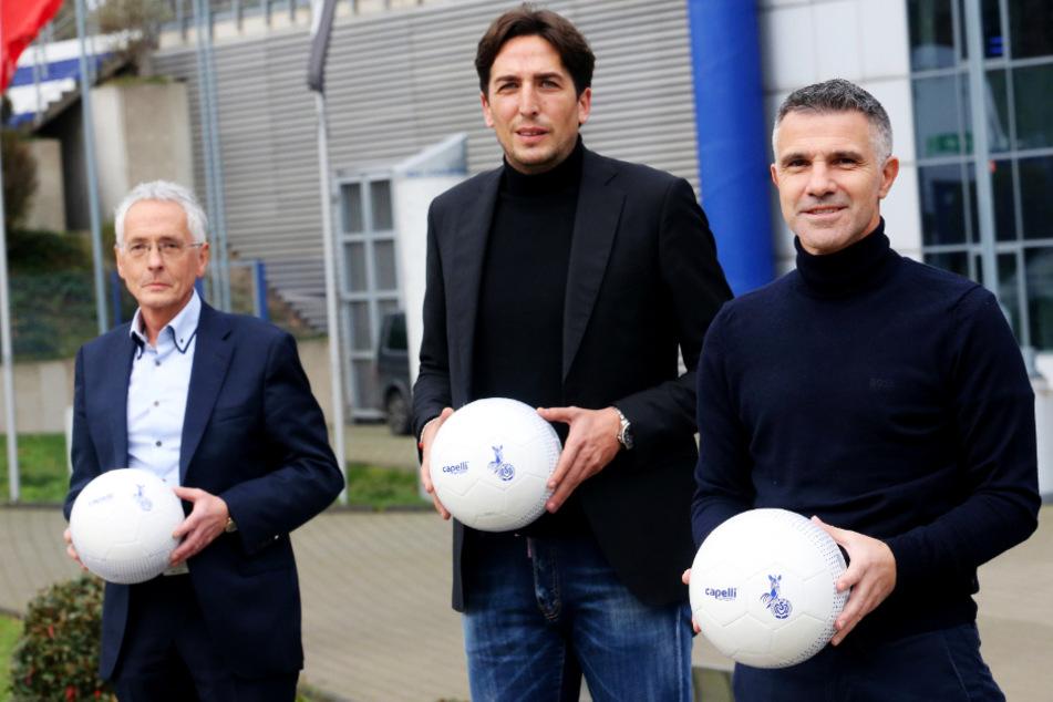 MSV Präsident Ingo Wald (62, l.) und Sportdirektor Ivica Grlic (M., 45) präsentierten den neuen alten Coach Gino Lettieri (53) am 11. November.
