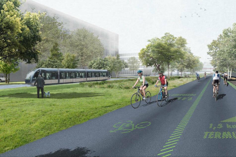 """Ein Blick in die Straßen der hochmodernen """"Urban Tech Republic"""". (Konzeptfoto)"""