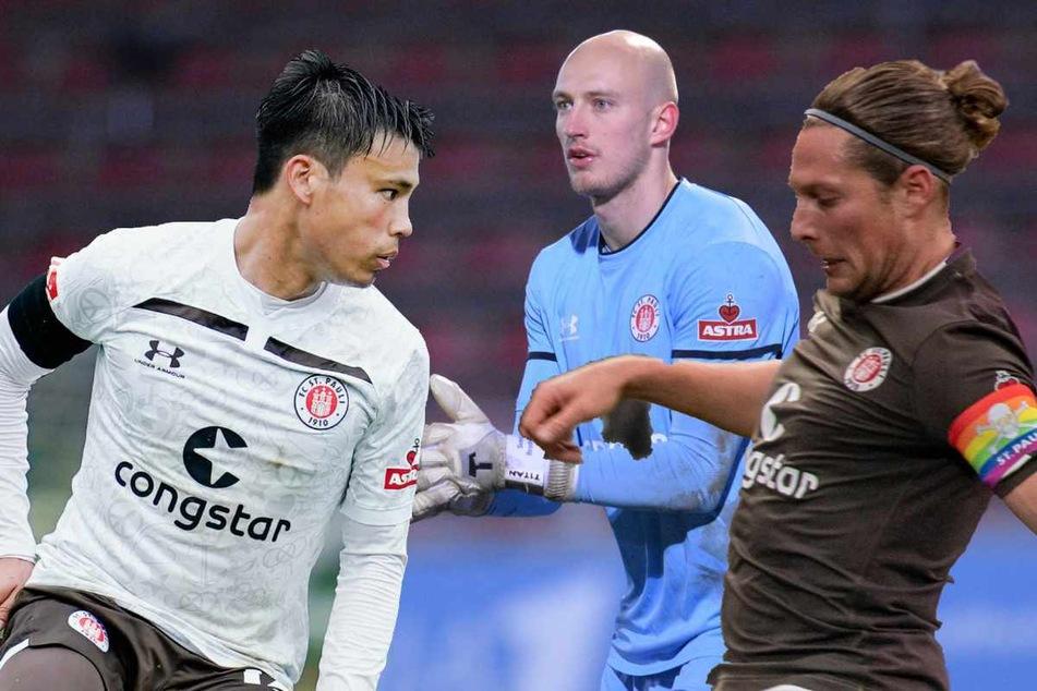 Ryo Miyaichi (28, v.l.n.r.), Svend Brodersen (24) und Daniel Buballa (31) werden den FC St. Pauli verlassen.
