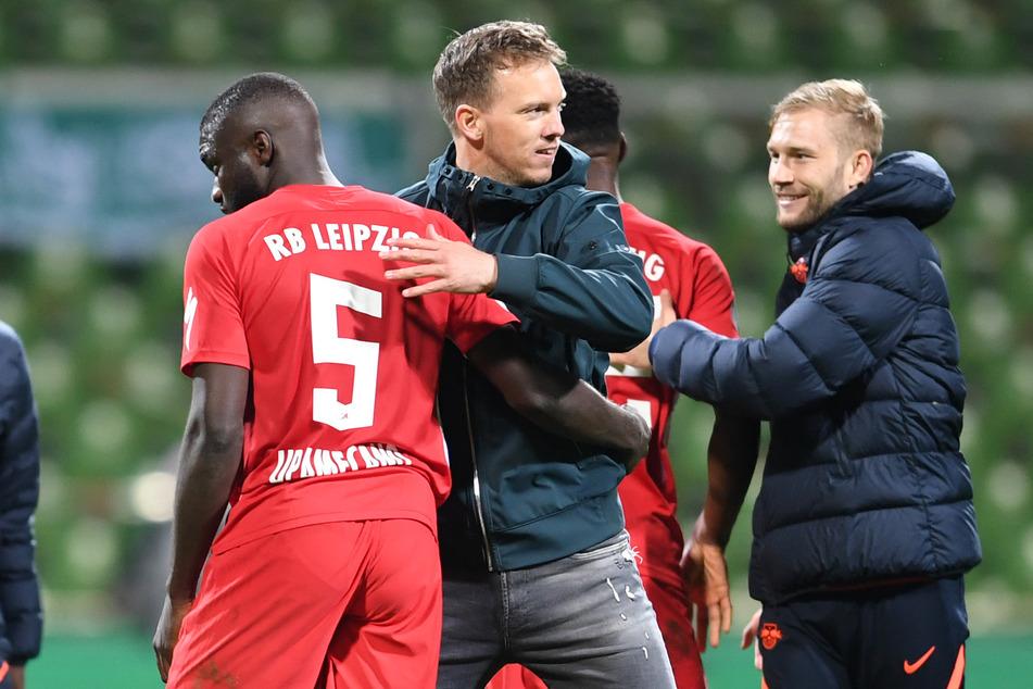Doppelter Abschied aus Leipzig: Julian Nagelsmann (33, m.) und sein französischer Schützling bestreiten die letzte Partie für die Roten Bullen.