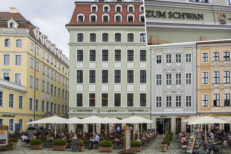 """Das Restaurant """"Zum Schwan"""" befindet sich in der Nachbarschaft von """"Augustiner"""" und """"Cosel Palais"""". Wer genau hinsieht, entdeckt den Schwan an der Fassade (r. o.)."""