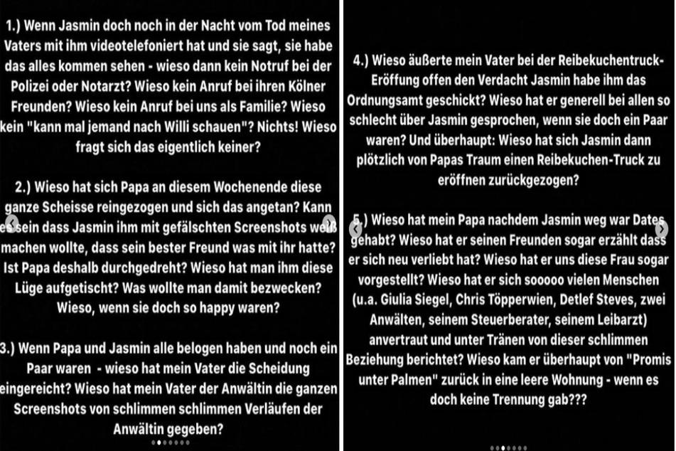 Mit einem Katalog aus unbeantworteten Fragen schießt die 19-jährige Tochter des verstorbenen Schlagerstars Willi Herren (†45) auf Instagram scharf gegen dessen Witwe.