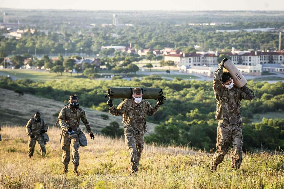 Soldiers participate in a training session at Fort Sill military base near Lawton, Oklahoma.