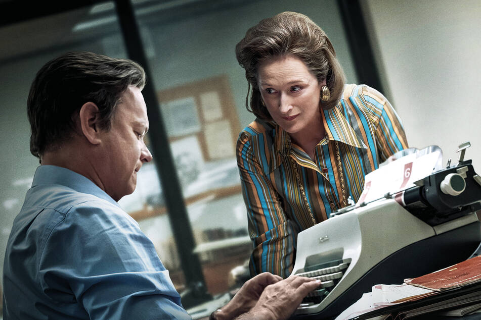"Meryl Streep as publisher Katharine ""Kay"" Graham and Tom Hanks as editor-in-chief Ben Bradlee, in a scene from The Publisher."